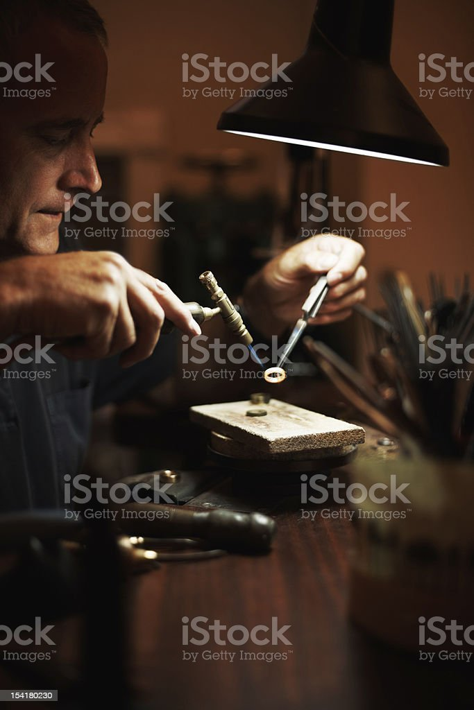 Senior man making a ring stock photo