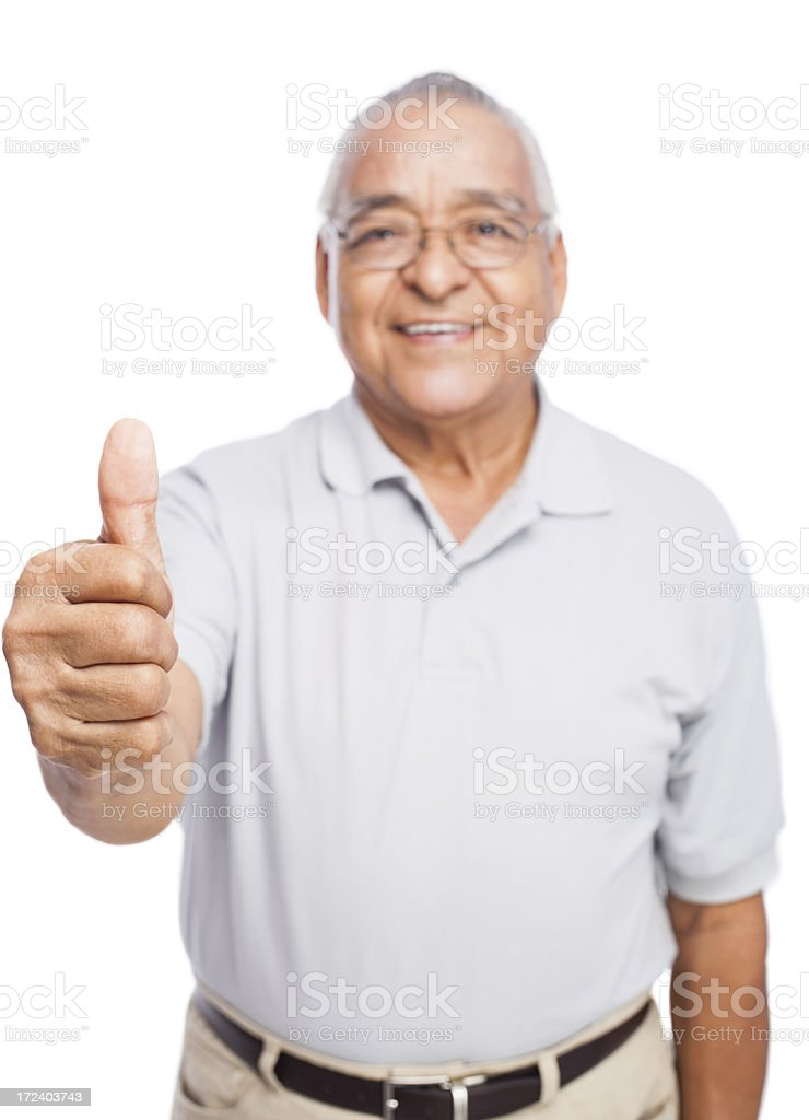 Senior man making thumbs up royalty-free stock photo