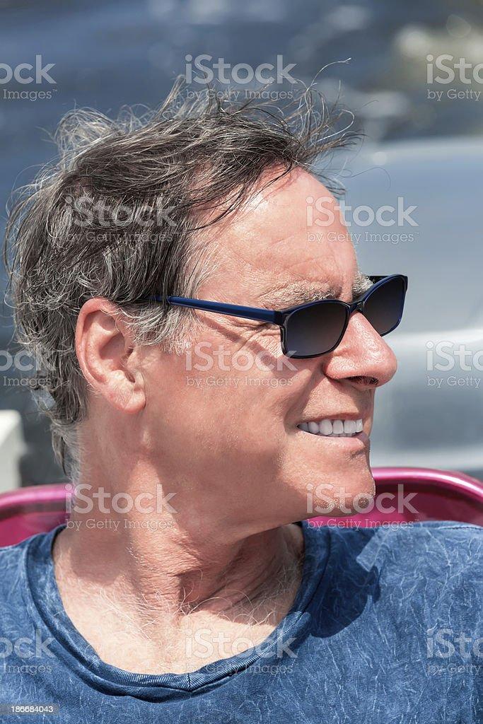 Senior man on a boat royalty-free stock photo