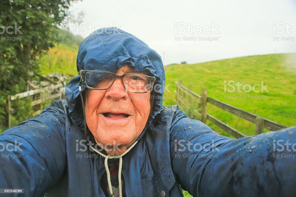 Senior Man on a Rainy Day, Scotland stock photo