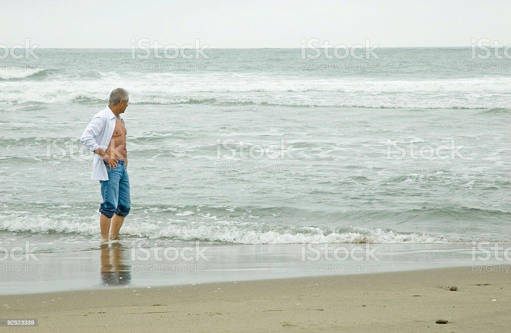 Senior Man on Beach 2 royalty-free stock photo