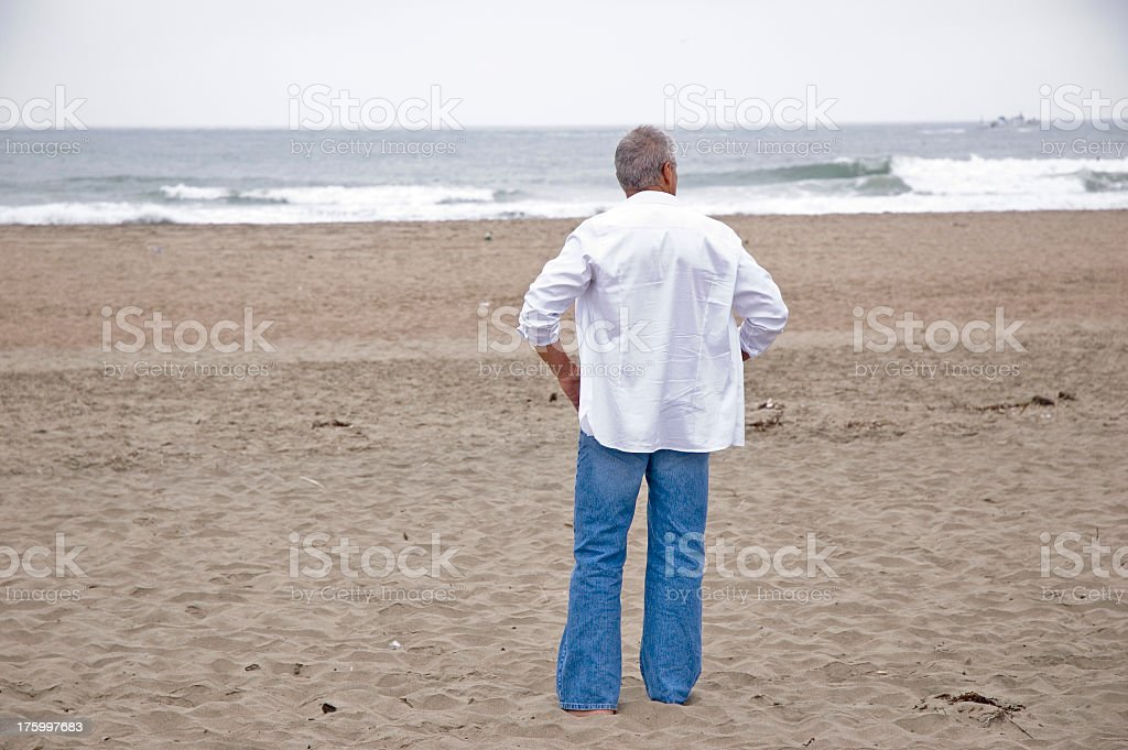Senior Man on Beach stock photo