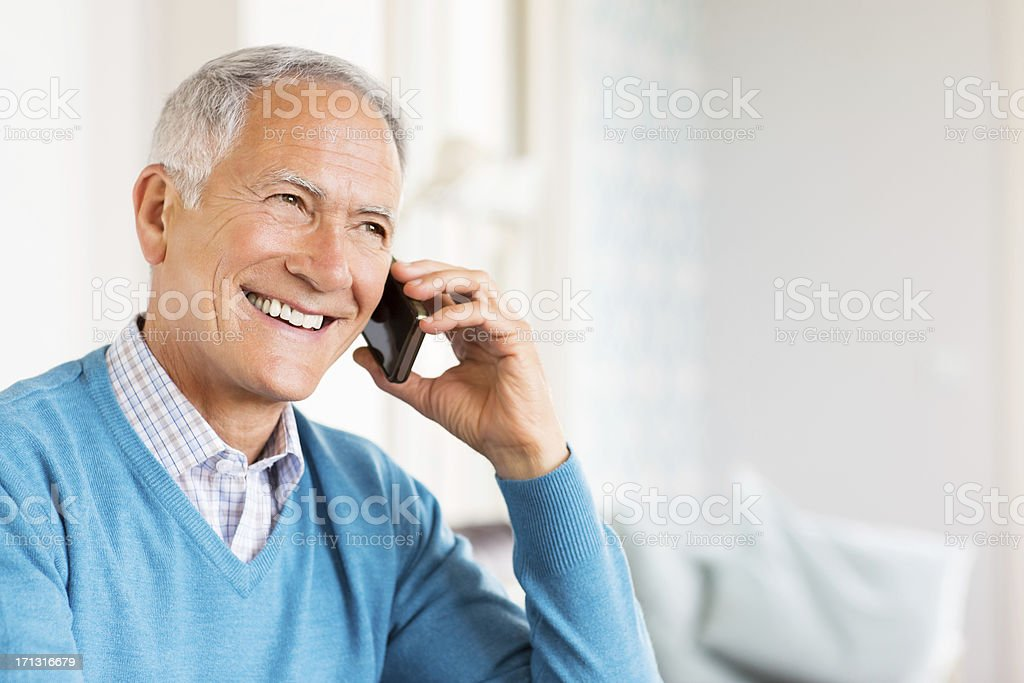 Senior Man On Call. stock photo