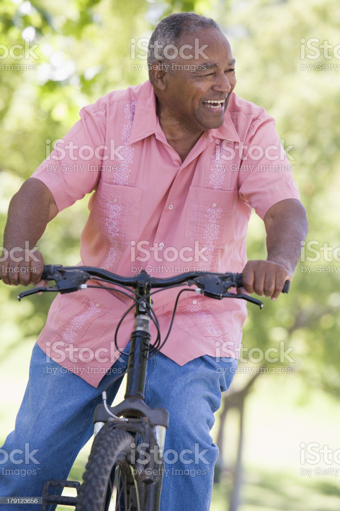 Senior man on cycle ride royalty-free stock photo