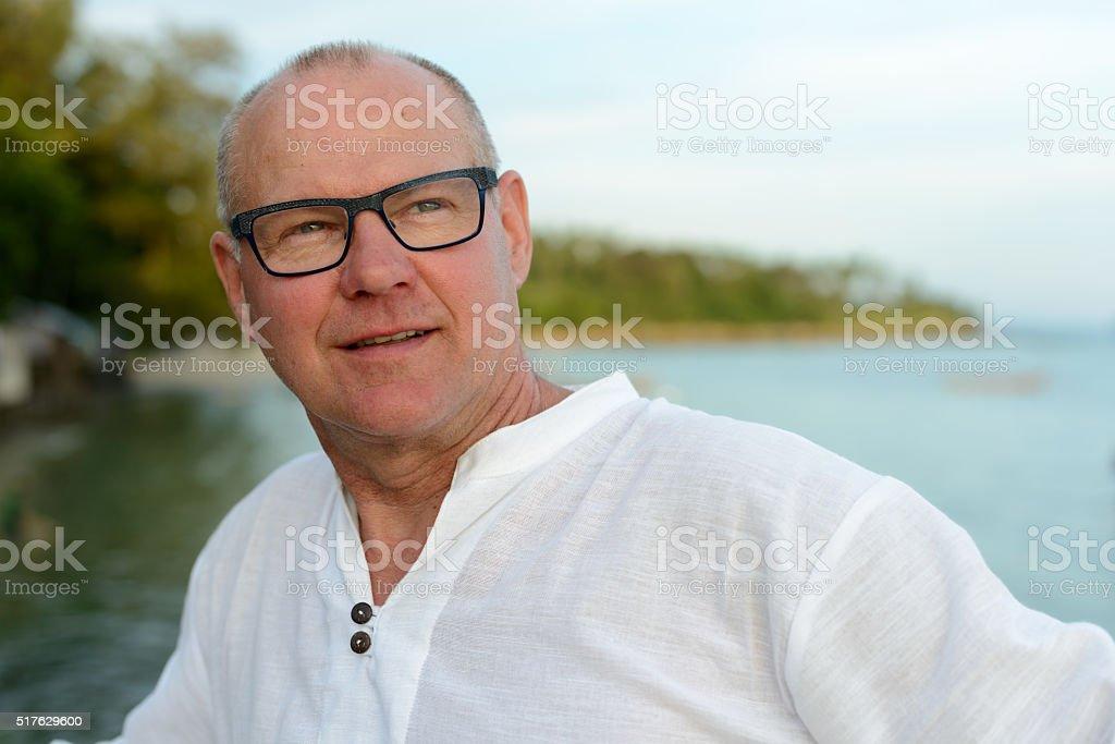Senior man outdoors stock photo