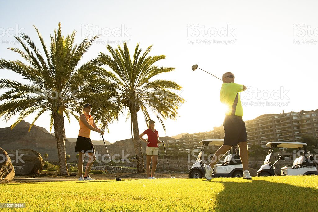 Senior Man Playing Golf With Friends royalty-free stock photo