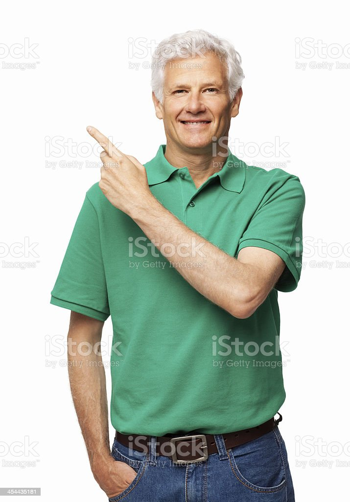 Senior Man Pointing To His Right - Isolated royalty-free stock photo