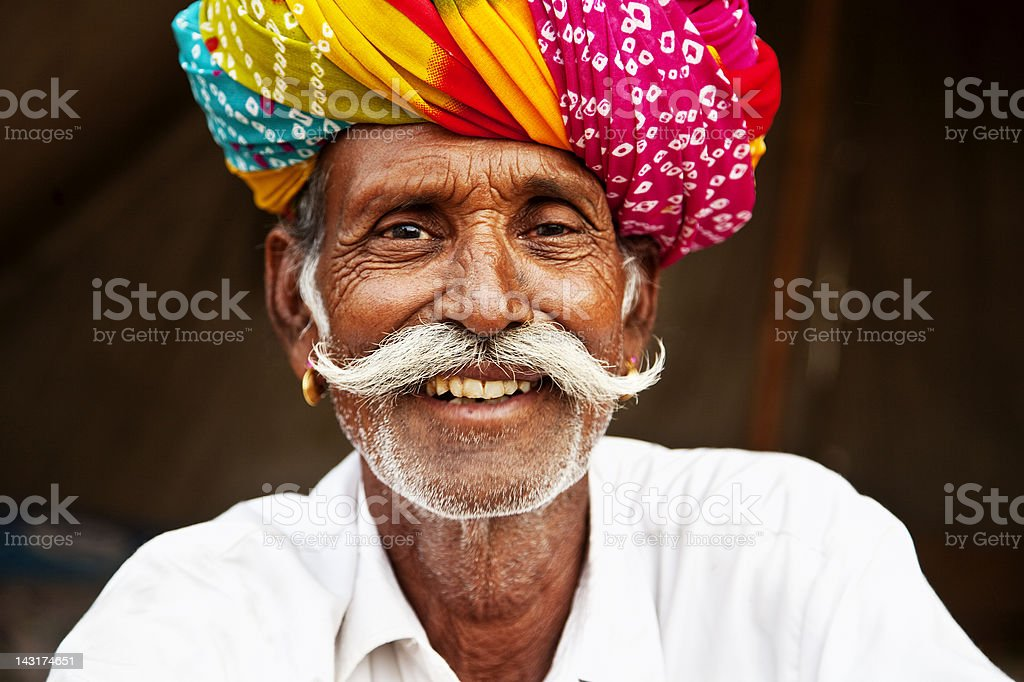 senior man portrait in Pushkar, India stock photo
