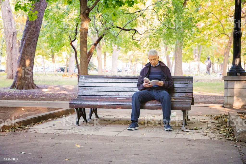 Senior man reading book alone in public park stock photo