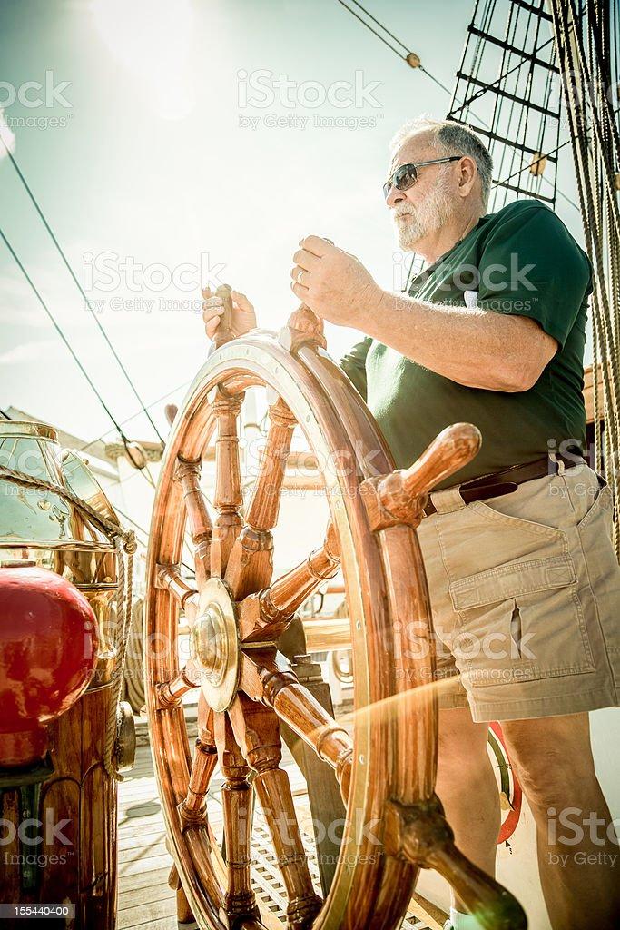 Senior Man Sailing royalty-free stock photo
