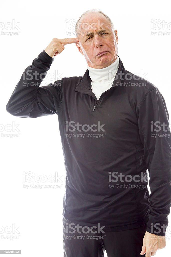 Senior man shooting himself in head stock photo