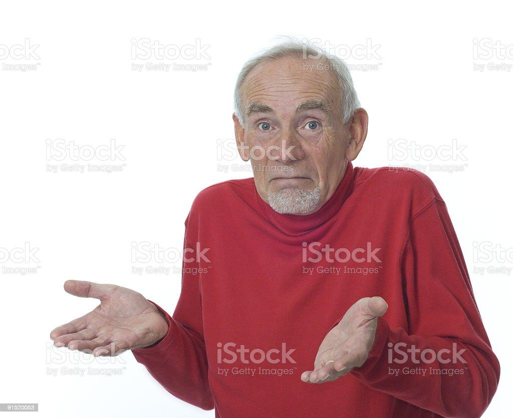 Senior man shrugging shoulders royalty-free stock photo