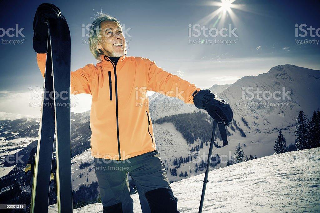 senior man skiing royalty-free stock photo
