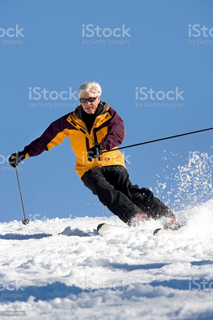 Senior Man Snow Skiing royalty-free stock photo