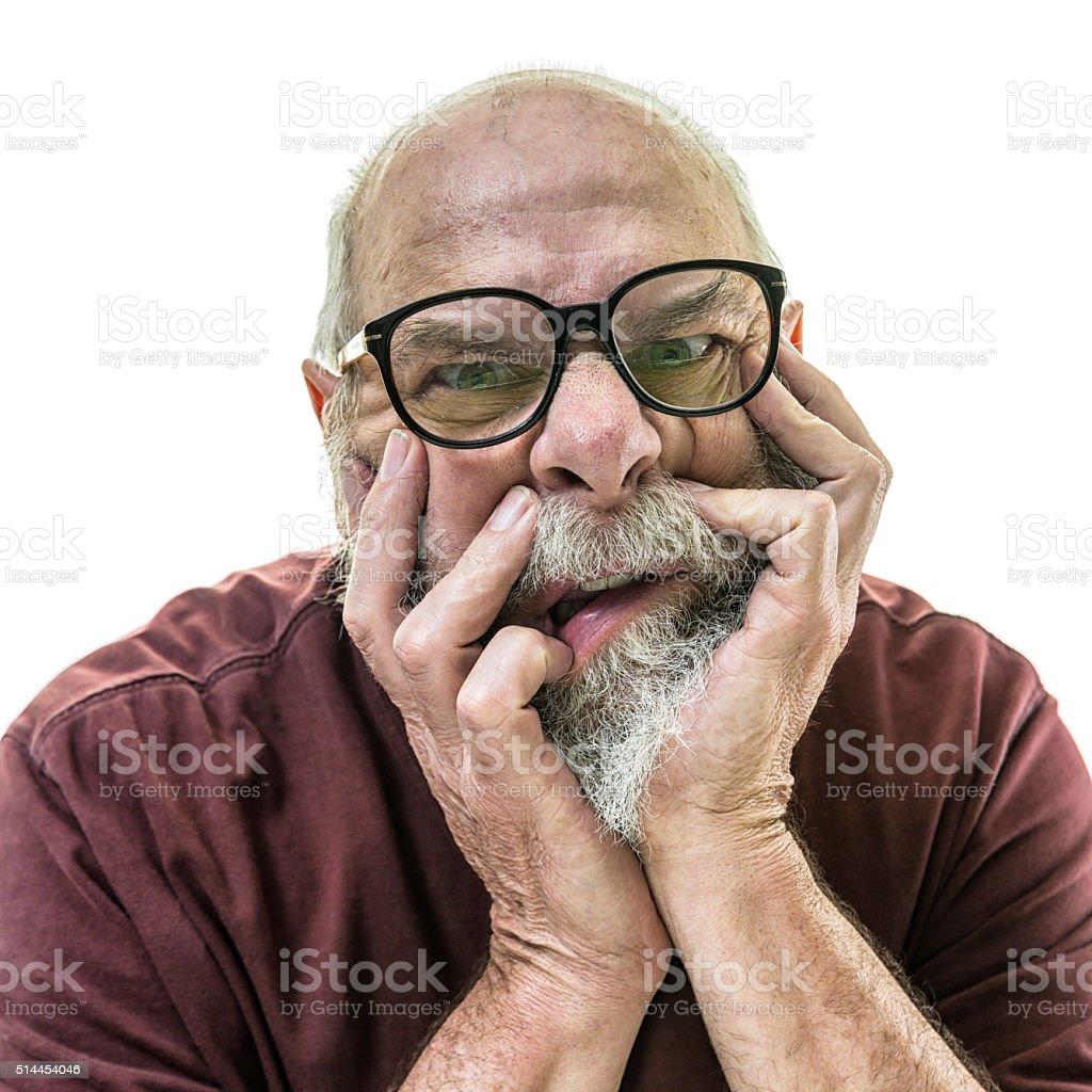 Senior Man Speckled Spotted Horn Rim Nerd Glasses stock photo