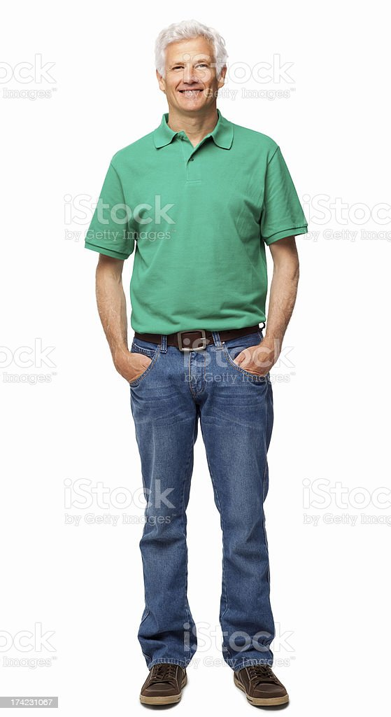 Senior Man Standing With Hands In Pockets - Isolated royalty-free stock photo
