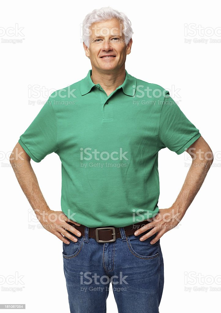 Senior Man Standing With Hands On Hips - Isolated royalty-free stock photo