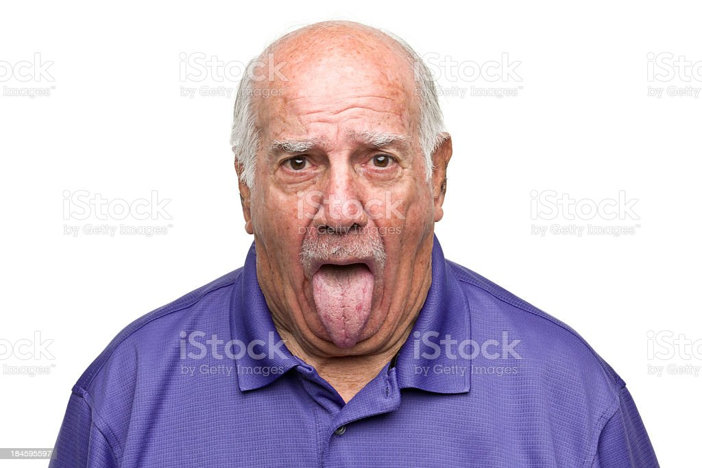 Senior Man Sticking Out Tongue royalty-free stock photo
