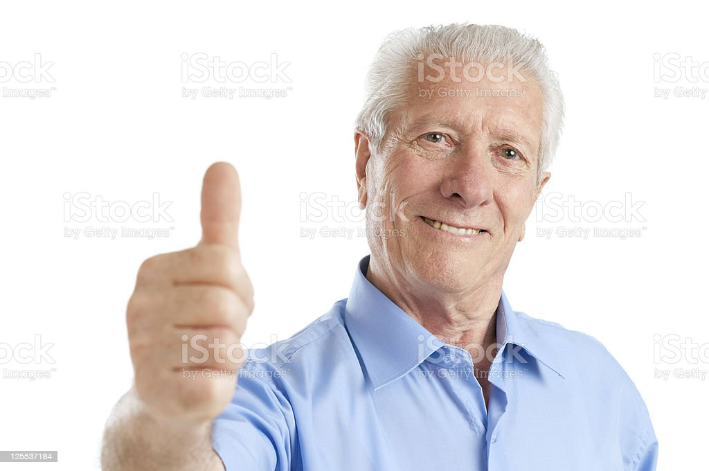Senior man thumb up royalty-free stock photo