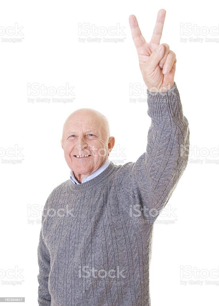 Senior man victory royalty-free stock photo