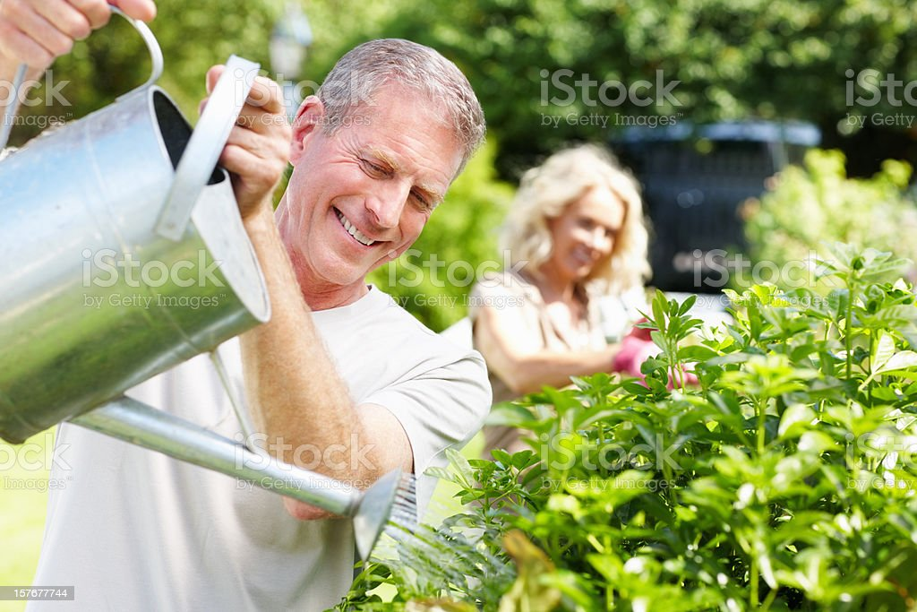 Senior man watering plants and blur woman in background royalty-free stock photo
