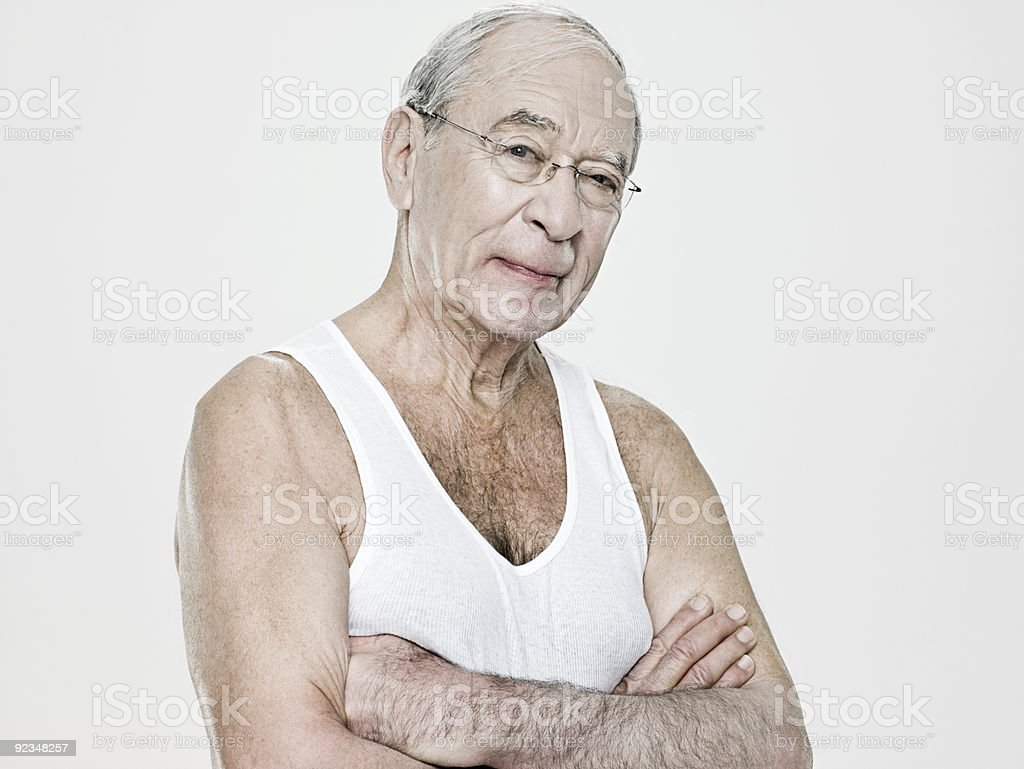 Senior man wearing a vest stock photo