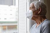 Senior Man Wearing Air Filter Mask