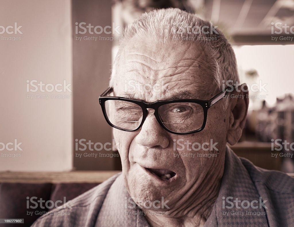 Senior Man Winking stock photo