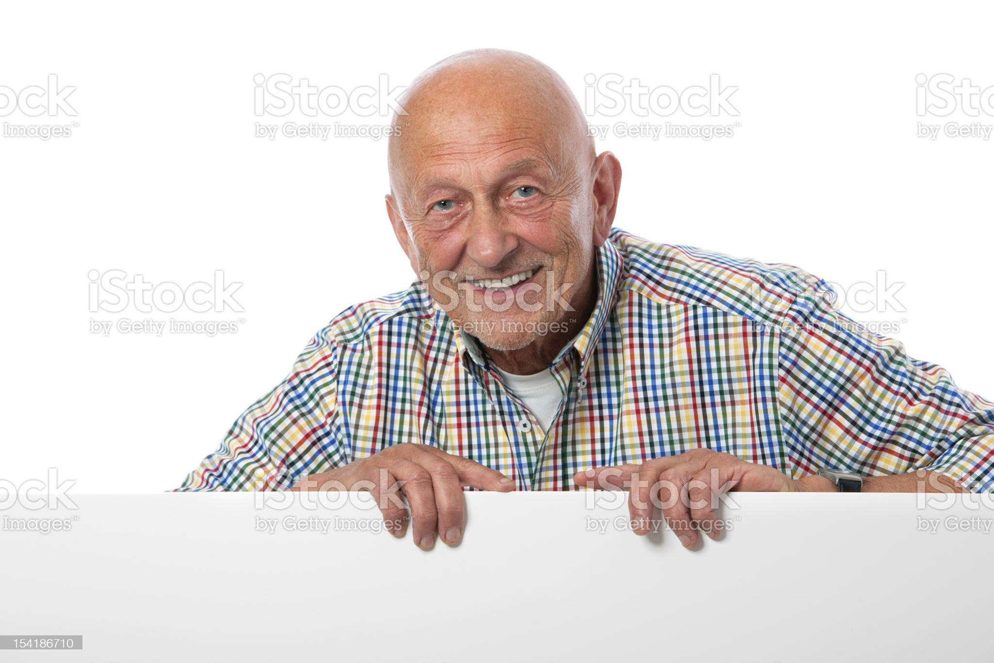 senior man with a blank board royalty-free stock photo