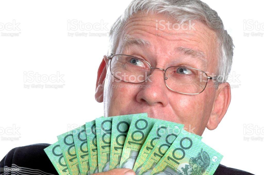 Senior Man With Australian Money royalty-free stock photo