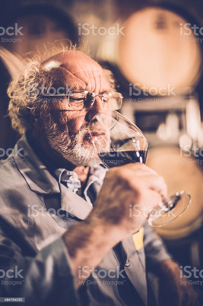 Senior Man with Beard Holding Glass of Red Wine stock photo
