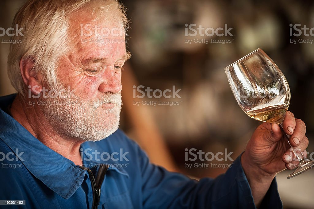 Senior Man with Beard Holding Glass of White Wine stock photo