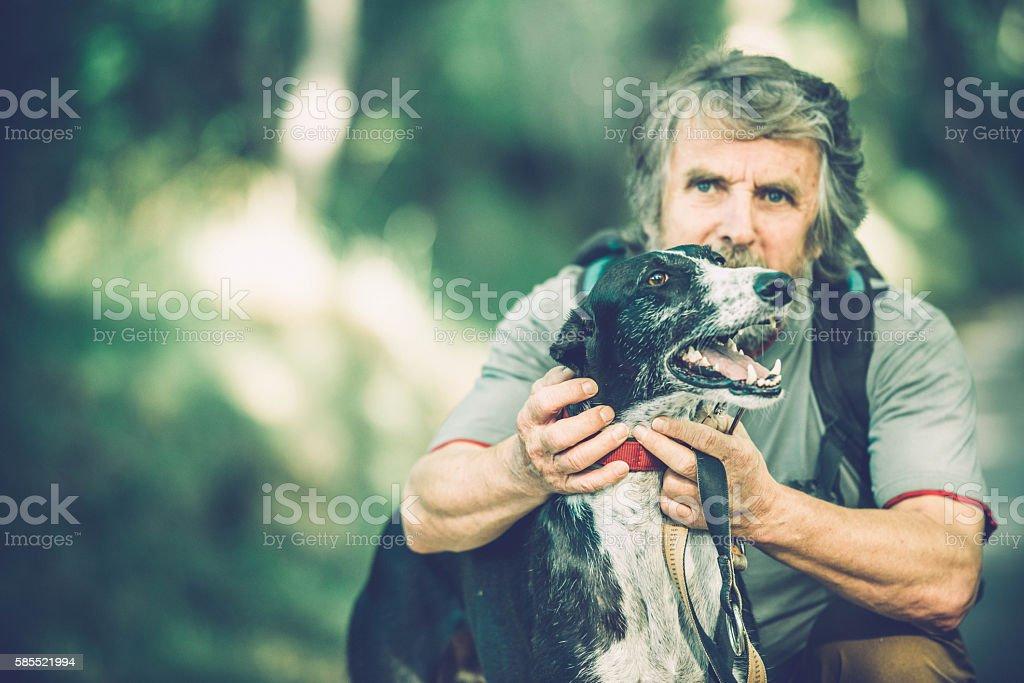Senior man with beard - Mountaineer and greyhound dog portrait stock photo