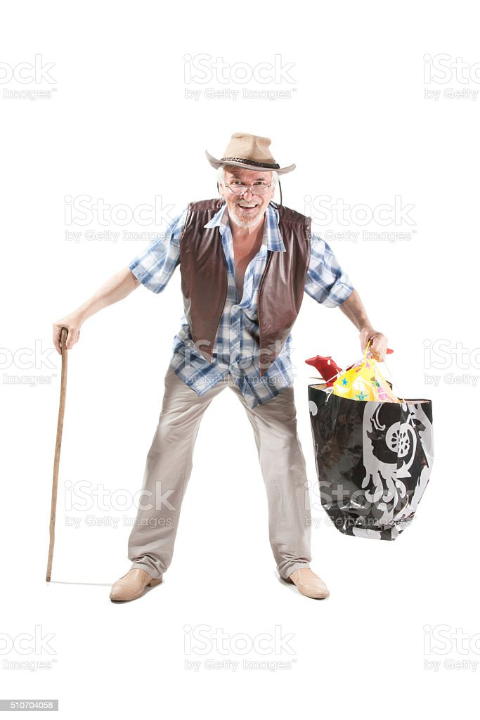 Senior man  with cane  and bag stock photo