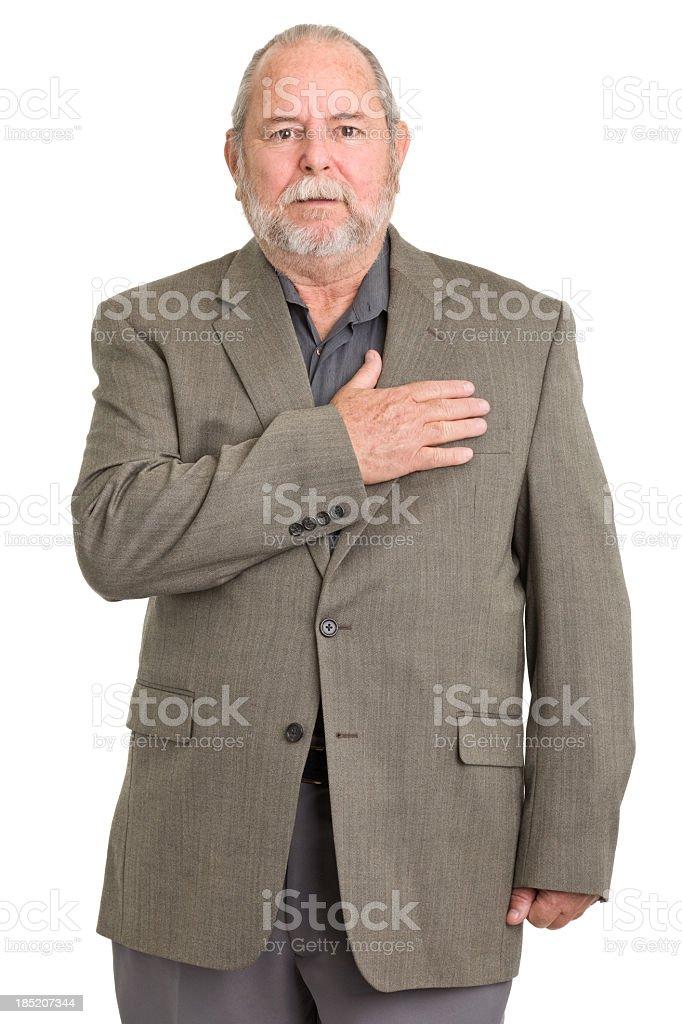 Senior Man With Hand Over Heart stock photo