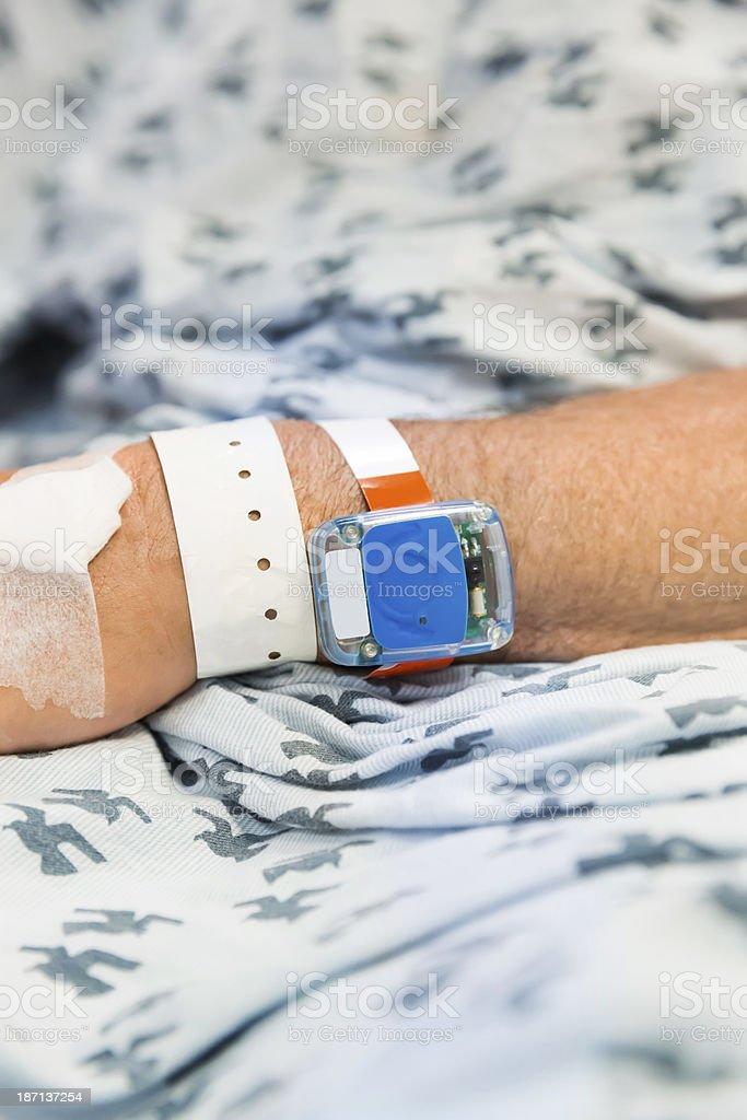Senior man with id bracelet stock photo