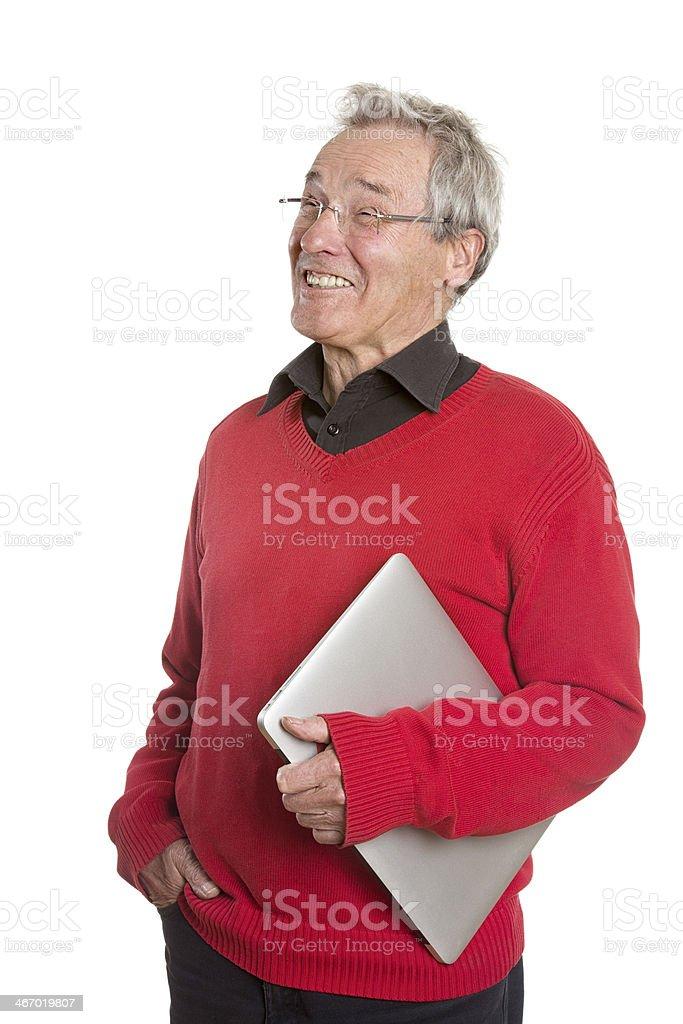 Senior Man with Laptop - on White Background royalty-free stock photo