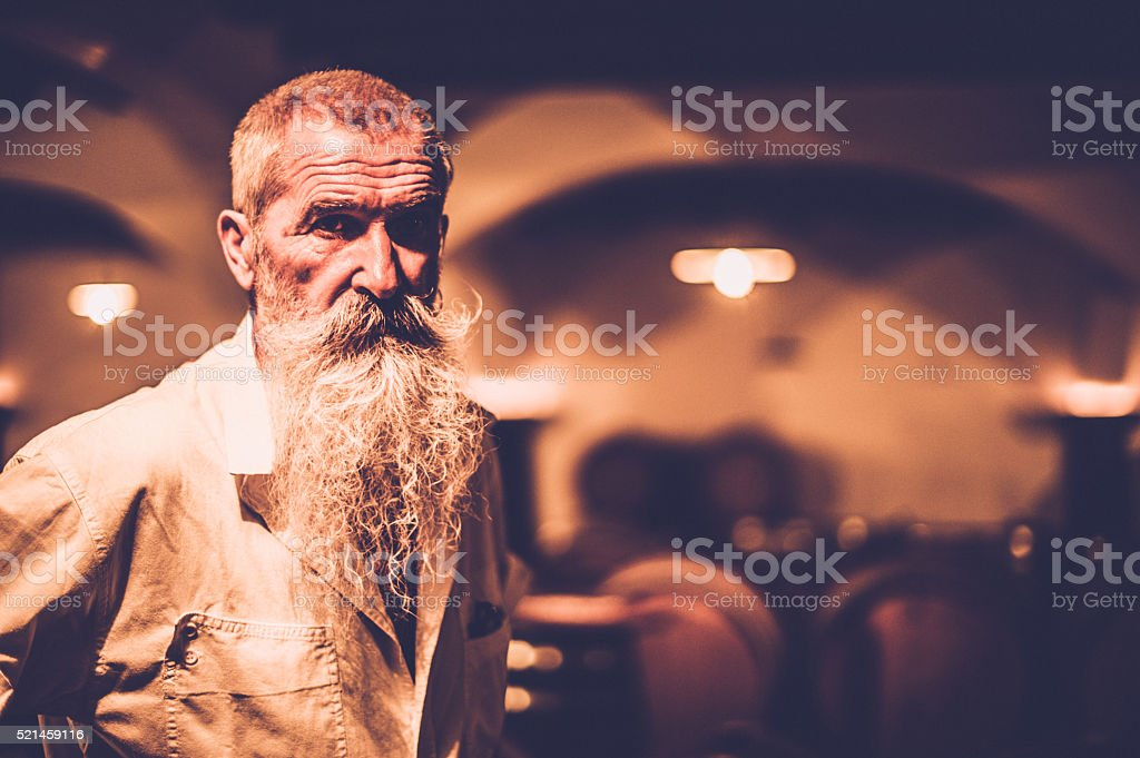 Senior Man with long Beard Standing in a Wine Store stock photo