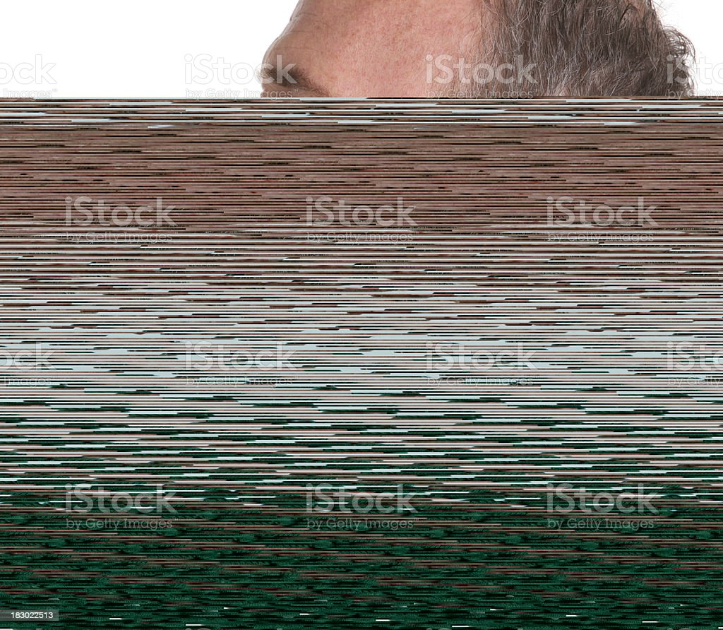 Senior man with mustache looking very sad and frustrated royalty-free stock photo