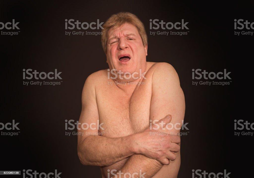 Senior man with osteoarthritis pain stock photo