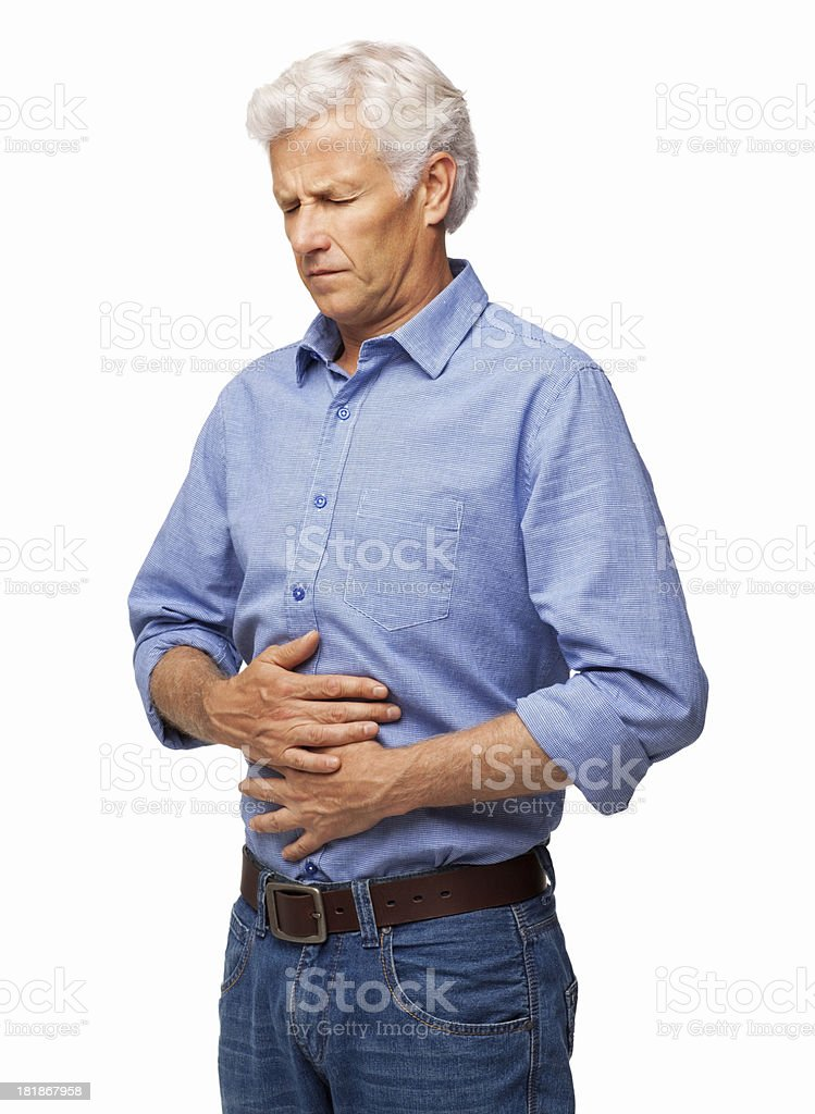 Senior Man With Stomach Ache - Isolated stock photo