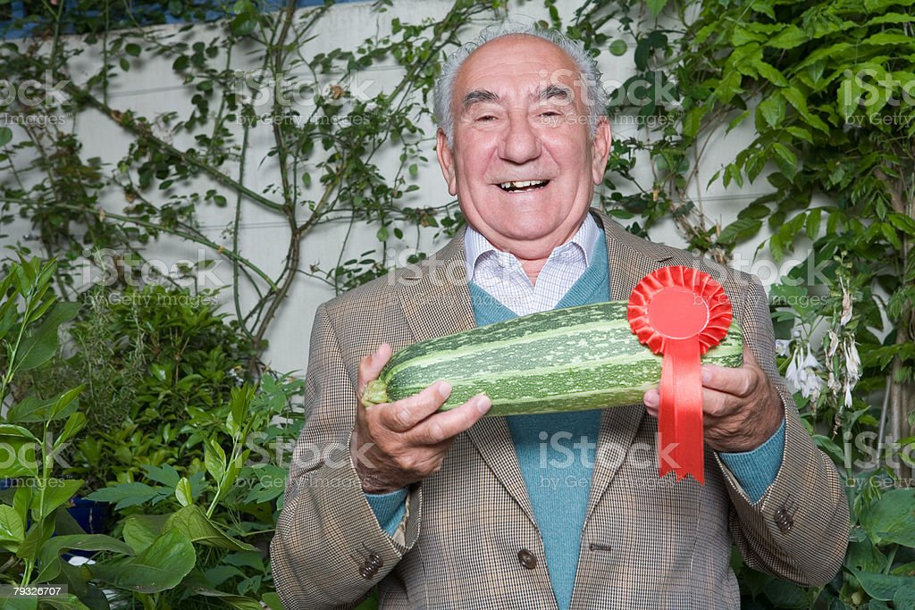 Senior man with winning marrow stock photo