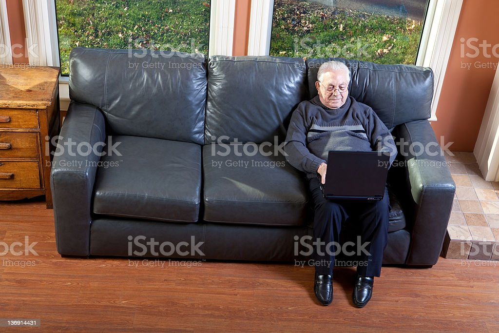 Senior Man Working on Laptop royalty-free stock photo