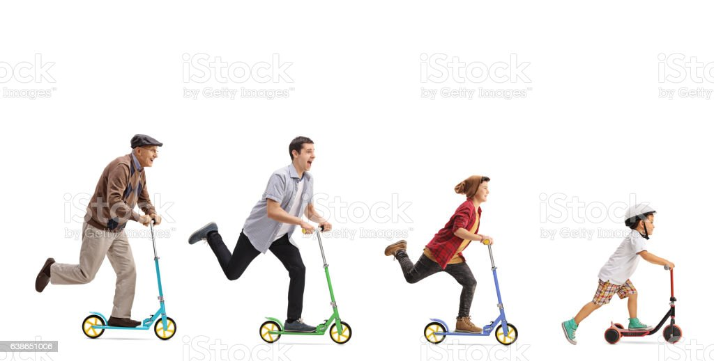 Senior, man, young man and a kid riding scooters stock photo