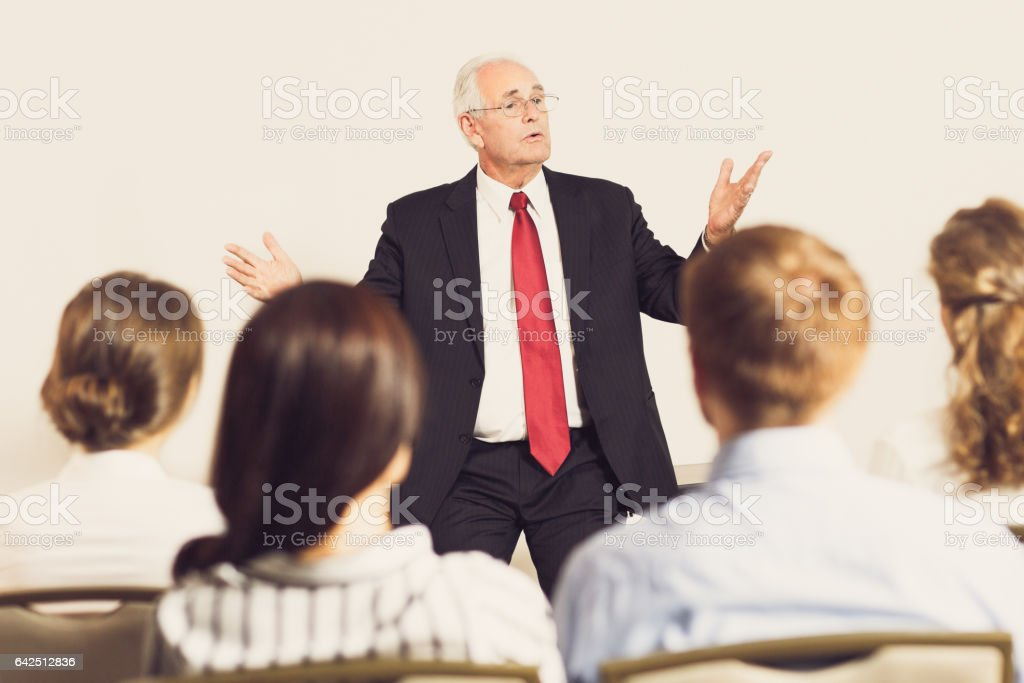 Senior Manager Explaining Idea to Colleagues stock photo