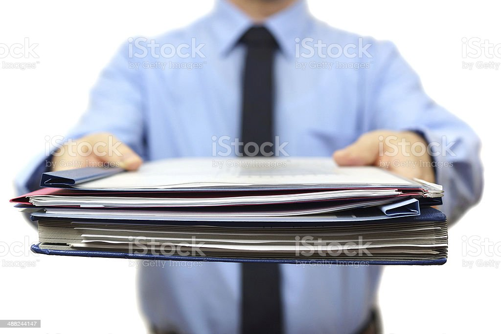 senior manager is Giving a lot of work stock photo