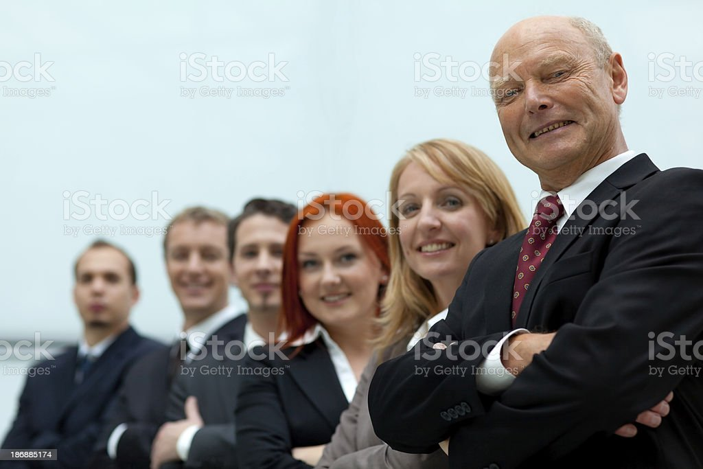 senior manager with team royalty-free stock photo