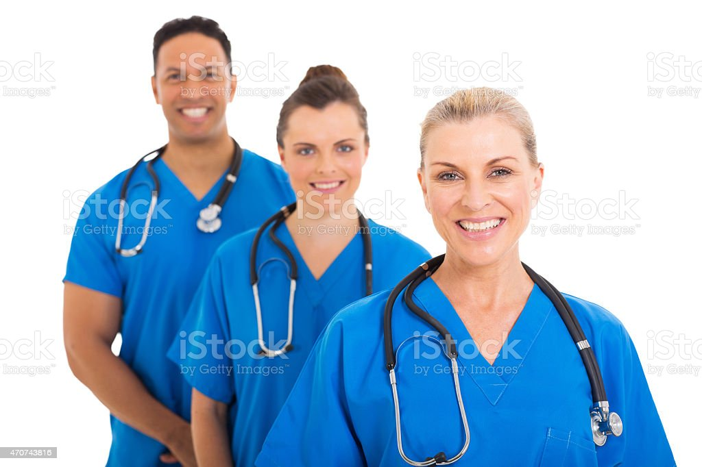 senior medical doctor and colleagues stock photo