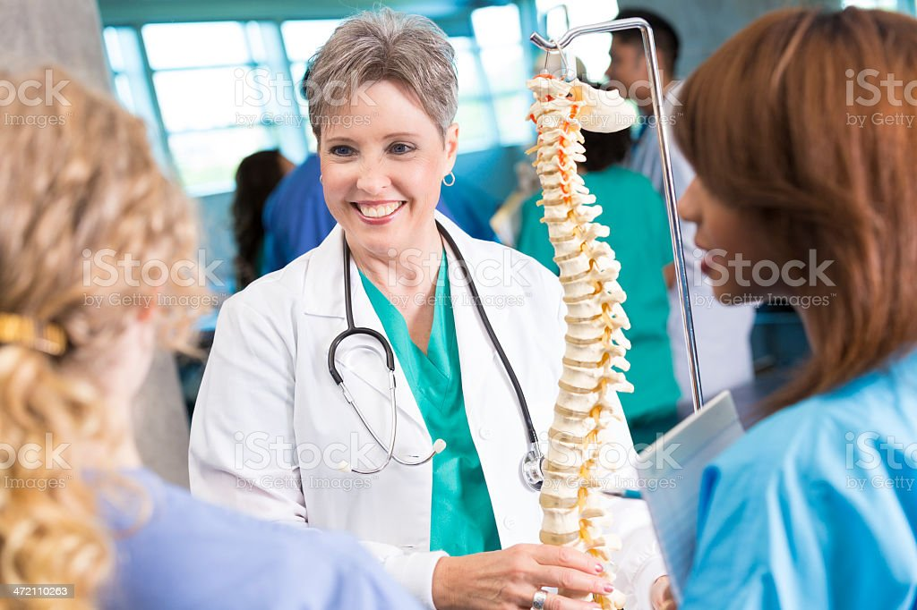 Senior medical or nursing professor teaching students with spine model stock photo