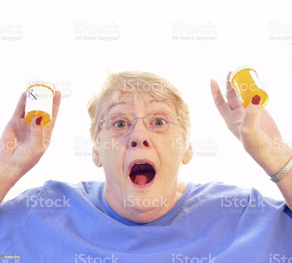 senior - medication hostage stock photo